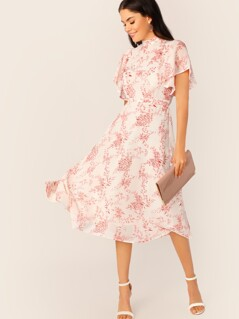 Mock-neck Flutter Sleeve Self Belted Dress