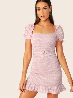 Puff Sleeve Ruffle Hem Shirred Gingham Dress With Belt