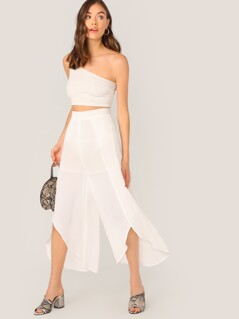 Wrap Split Front Semi Sheer Pants