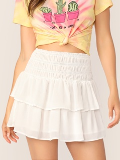 Smocked Wide Waistband Layered Skirt