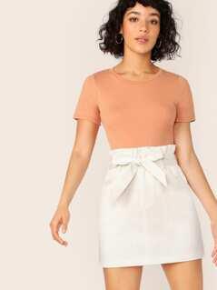 Belted Paperbag Waist Skirt