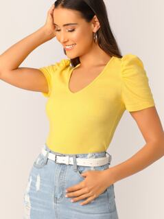 Puff Sleeve Slim Fitted Top