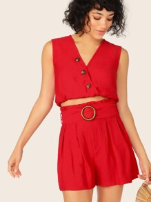 Buttoned Crop Wrap Top & Buckle Belted Shorts Set