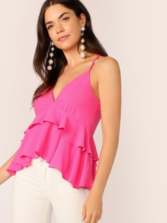 Neon Pink High Low Peplum Cami Top