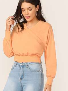 Surplice Neckline Distressed Edge Pullover Top