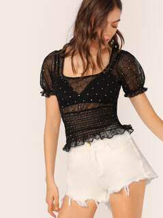 Scoop Neck Glitter Polka Dot Sheet Mesh Crop Top