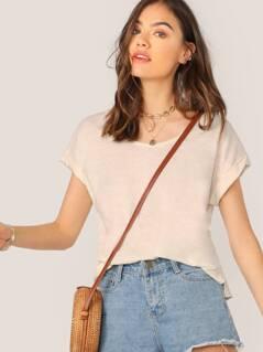 Scoop Neck Cuffed Sleeve Slub Knit Raw Hem T-Shirt