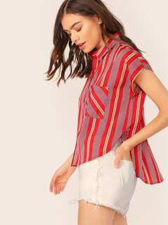 Button Front Woven Stripe Short Sleeve Shirt