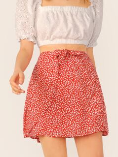 Waist Tie Ditsy Print A-Line Mini Skirt