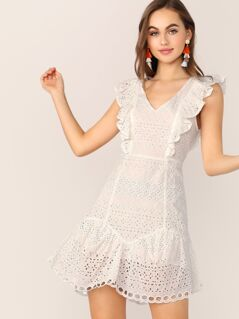 Embroidered Eyelet Lace Ruffle Open Back Dress