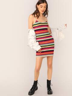 Scoop Neck Chevron Stripe Knit Sleeveless Dress