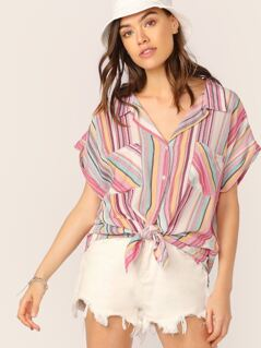Button Up Double Pockets Short Sleeve Stripe Shirt