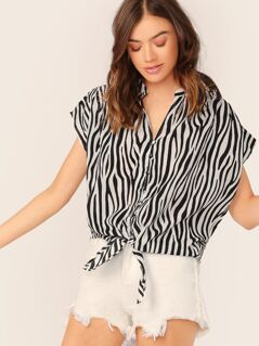 V-Neck Button Front Tie Hem Zebra Stripe Top