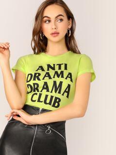Crew Neck Anti Drama Drama Club Graphic T-Shirt