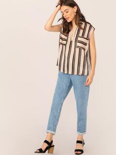 V-Neck Double Pockets Satin Stripe Sleeveless Top