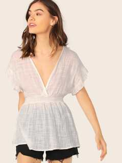 Smocked Waist V-Neck Ruffle Sleeve Gauze Top