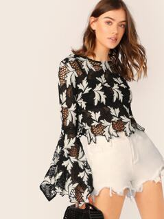 Two Tone Open Back Lace Long Sleeve Blouse