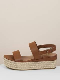 Open Toe Heel Strap Jute Trim Platform Sandals