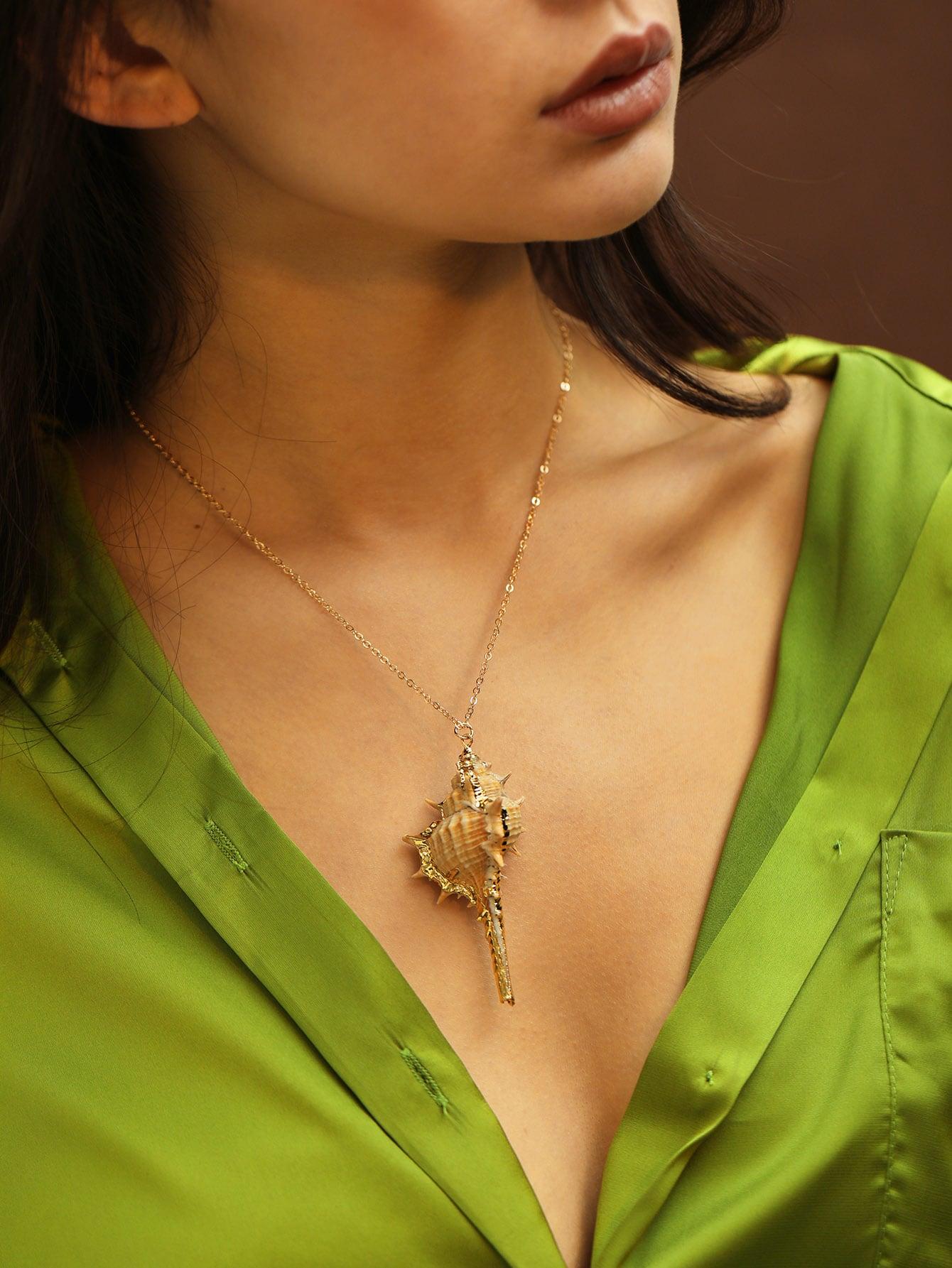 Фото - Цепное ожерелье с кулоном конча 1шт. от SheIn цвет золотые