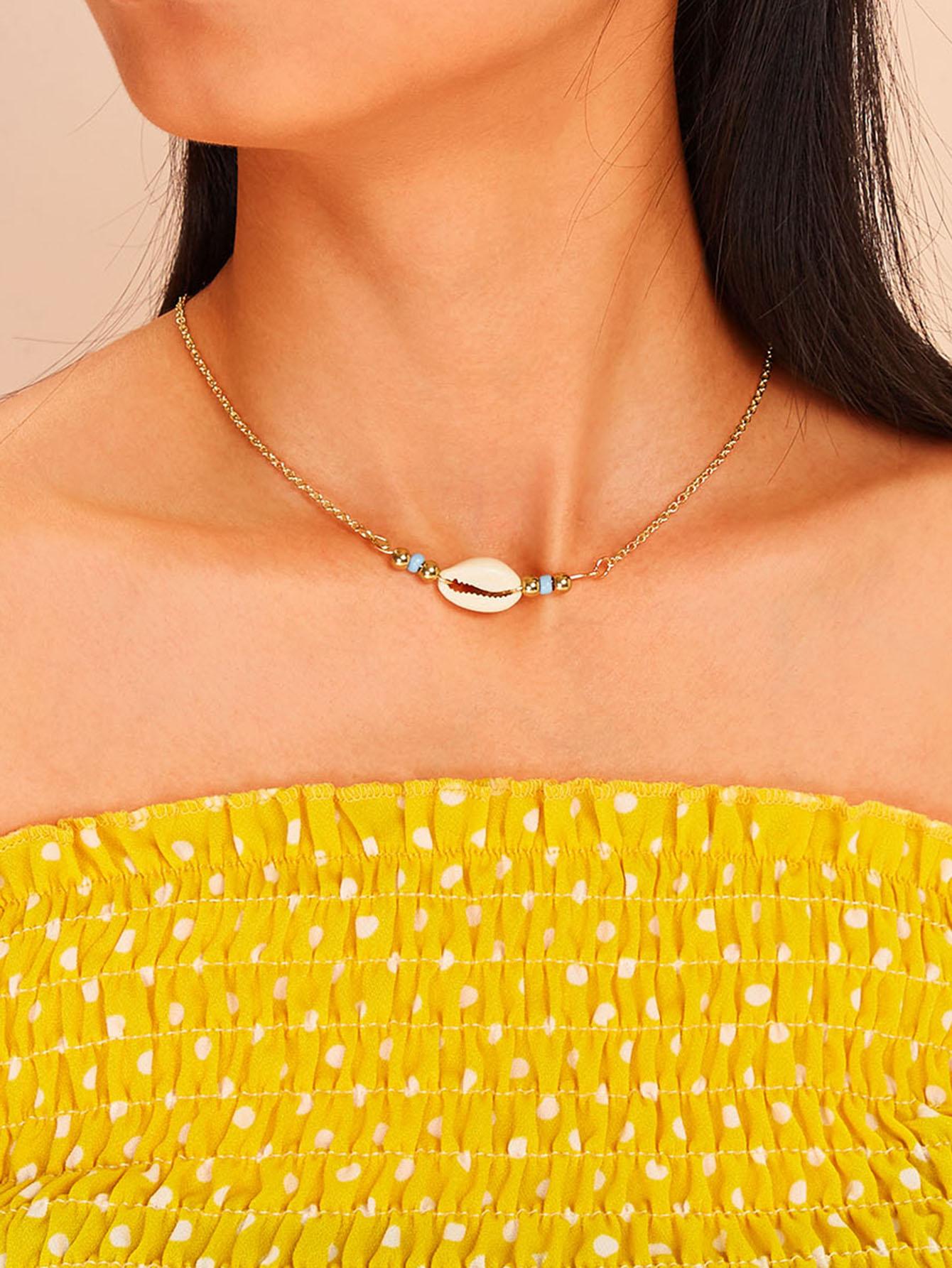 Фото - Ожерелье с подвеской в виде ракушки 1шт. от SheIn цвет золотые