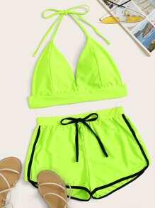 Swimsuit   Halter   Piece   Short   Neon   Top