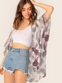Open Front Jungle Leaf Print Lightweight Cardigan
