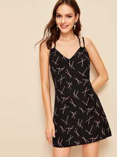 Allover Printed Double Strappy Dress