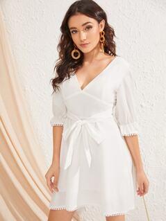 Criss-cross Back Lace Trim Solid Dress