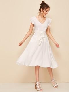 Ruffle Armhole Peekaboo Back Belted Dress