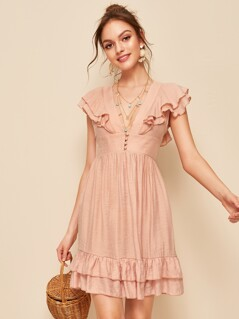 Tie Back Layered Ruffle Trim Plunge Neck Dress