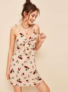 Cherry & Dot Print Ruffle Trim Slip Dress