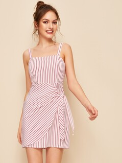 Zip Back Striped Slip Dress With Wrap Knotted Skirt