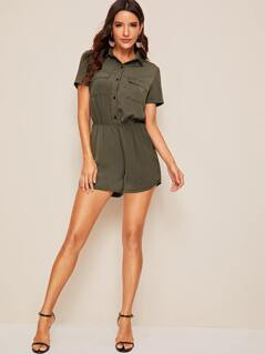 Flap Pocket Front Elastic Waist Utility Playsuit