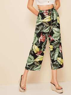 Drawstring Waist Jungle Leaf Print Crop Pants