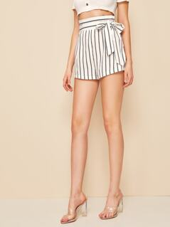High Waist Striped Belted Shorts