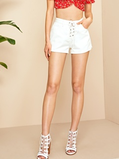 Solid Lace Up Front Denim Shorts