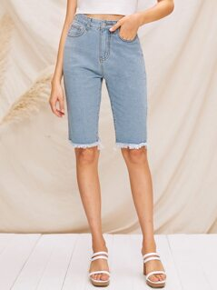 Raw Hem Bermuda Denim Shorts