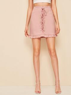 Lace Up Front Zip Back Ruffle Hem Skirt