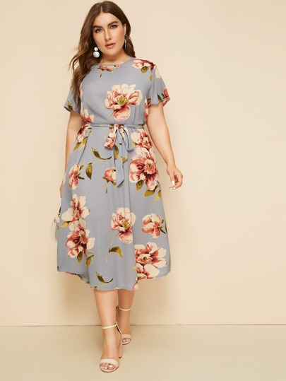 Plus Large Floral Print Belted Dress | SHEIN
