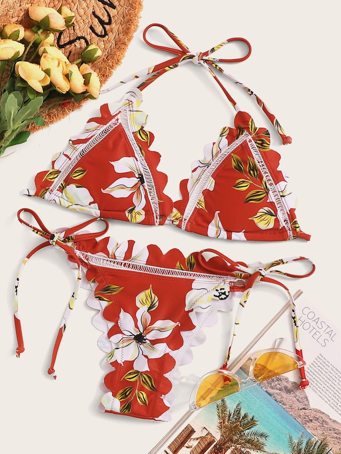 Фото - Бикини с фестончатым краем, цветочным принтом и завязками по бокам от SheIn цвет многоцветный