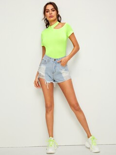 Neon Green Cut-out Shoulder Form Fitting Tee