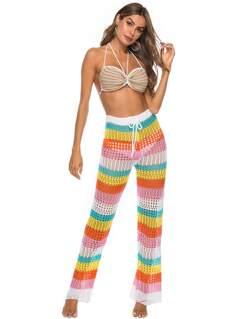 Crochet Halter Bra & Color-block Pants Set