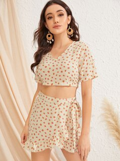 Ditsy Floral Top and Tie Side Wrap Skirt Set