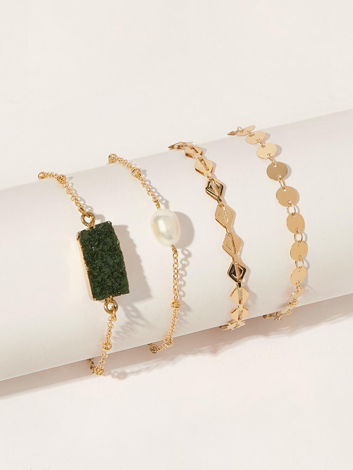 珍珠色  串珠 金屬 手鍊  4pcs