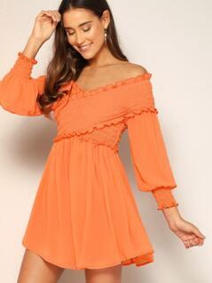 Neon Orange Frill Crisscross Shirred Flare Dress