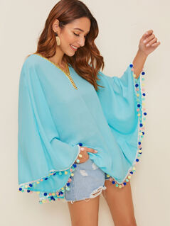 Embroidered Tape & Pom Pom Detail Cover Up Top