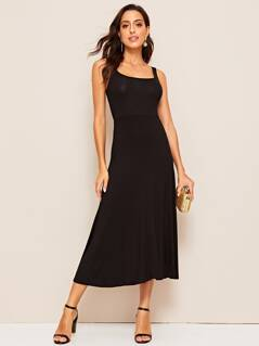Square Neck Swing Hem Dress