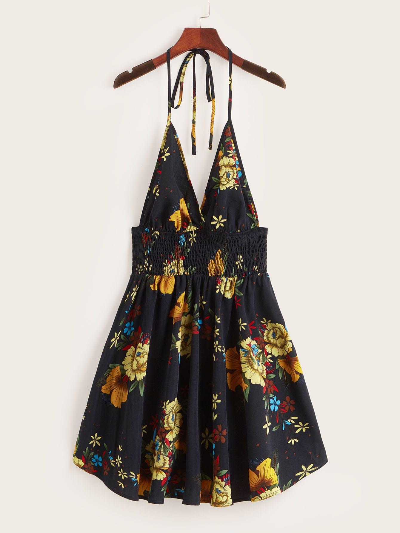 Фото - Платье-халтер с открытой спинкой и ботаническим принтом от SheIn цвет тёмно-синие