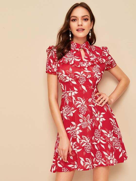 a32dc4b1c4 Keyhole Collared Neck Ruffle Trim Floral Dress