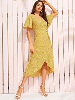 Surplice Neck Flutter Sleeve Self Tie Wrap Dress